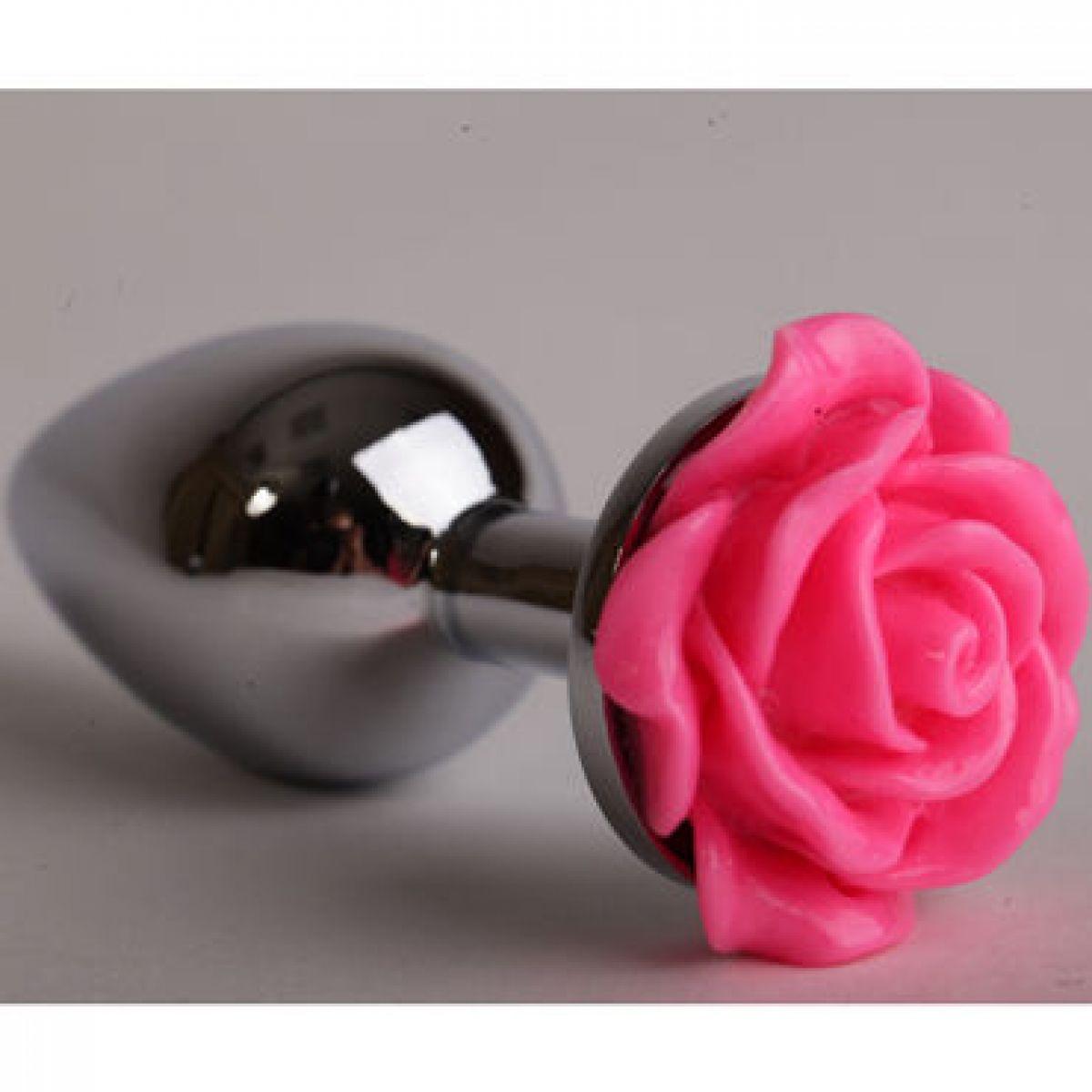 Анальная пробка серебристая с ярко-розовой розой S