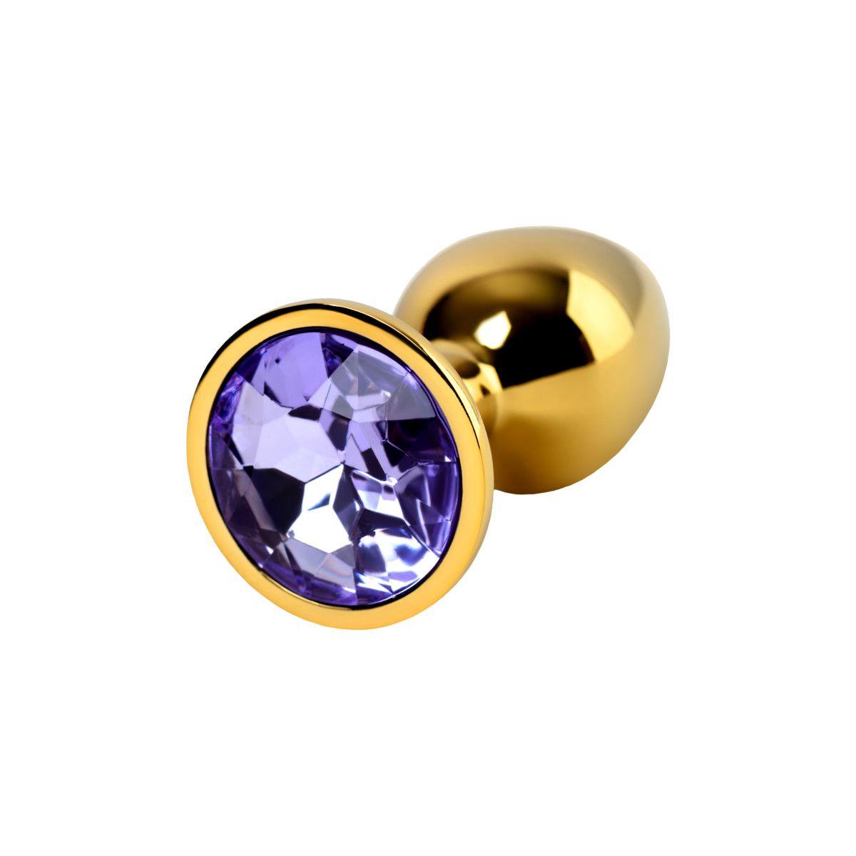 Анальный страз S золотистый, с кристаллом цвета аметист