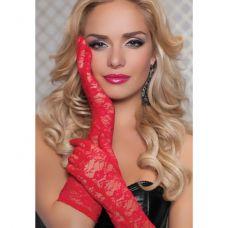 Перчатки из красного цветочного гипюра..