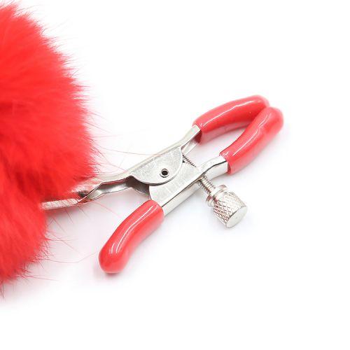 Зажимы на соски с красным мехом Party Hard Angelic Red