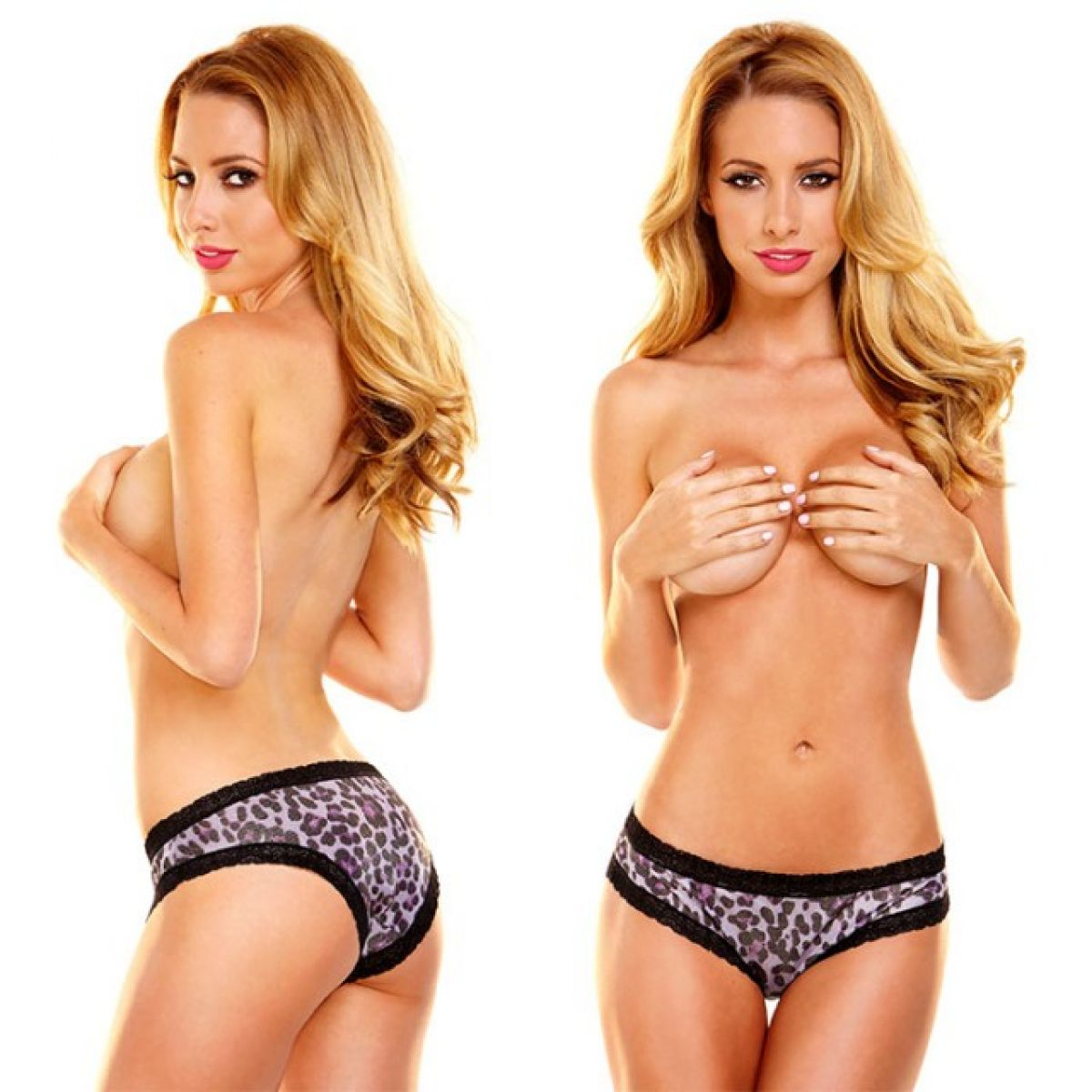 Женские блестящие леопардовые трусики Hustler с кружевом SM