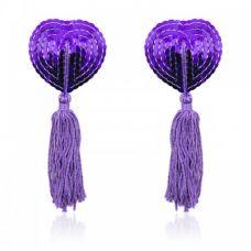 Фиолетовые пэстисы для груди с пайетками