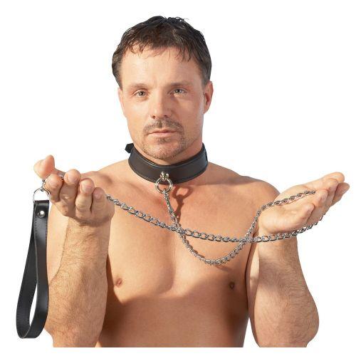 Поводок-цепочка с кожаной ручкой Leather Leash