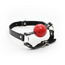 Дышащий кляп-шар красный с фиксацией..