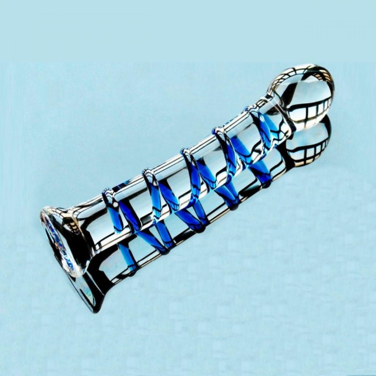 Фаллоимитатор из стекла Blue Spiral