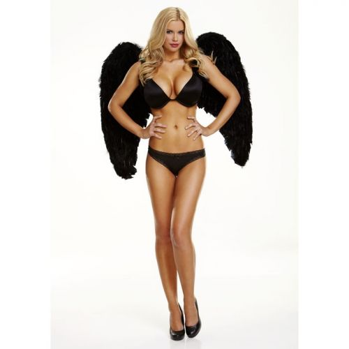 Большие черные крылья из натуральных перьев Dark Delight