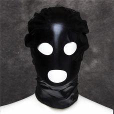 Черная блестящая маска из спандекса..