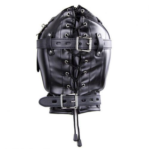 Бондажный черный шлем с кляпом