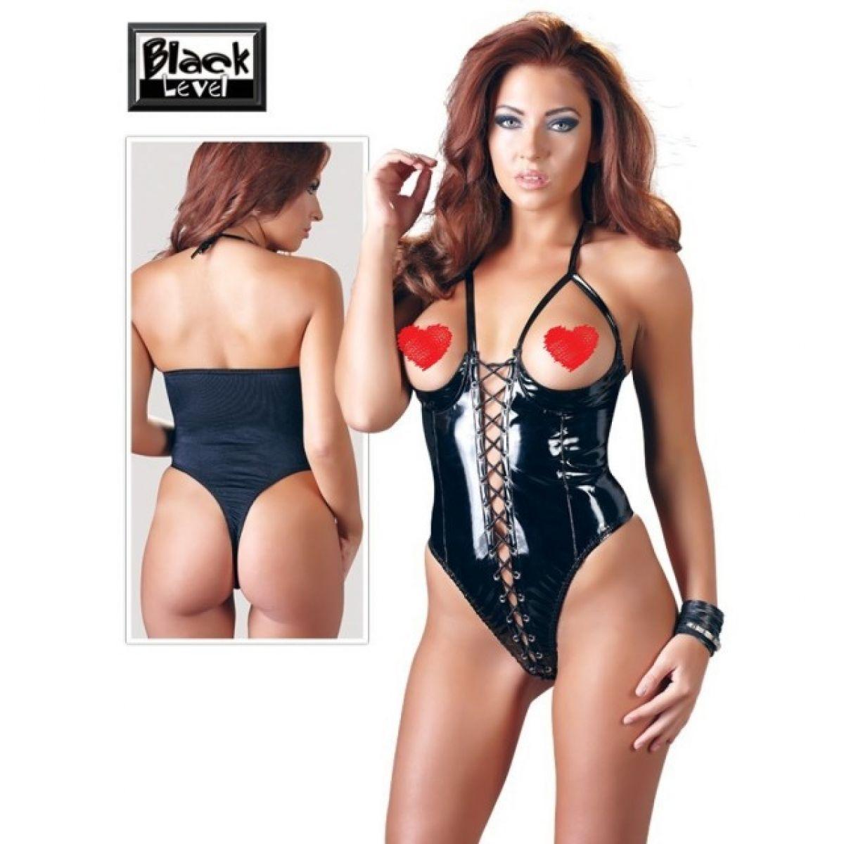 Чёрное лаковое боди с открытой грудью Black Level S