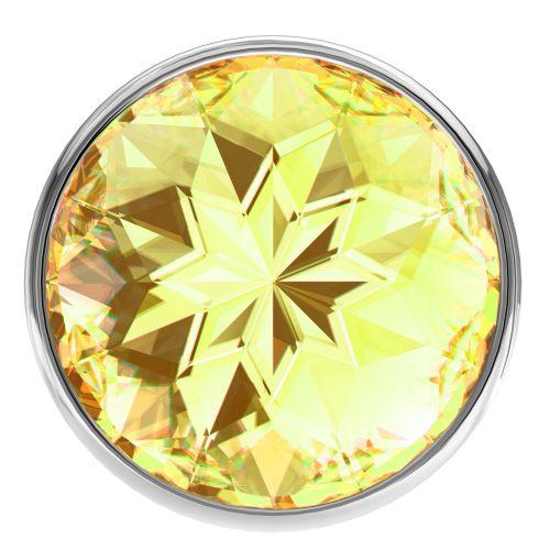 Анальная пробка из алюминия с желтым камушком