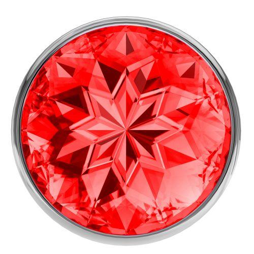 Анальная пробка из алюминия с красным камушком