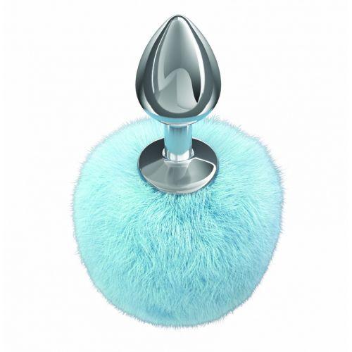 Анальная пробка с нежно-голубым хвостиком Diamond Twinkle