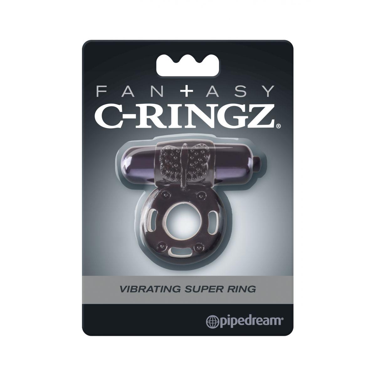 Эрекционное кольцо с вибрацией Fantasy C-Ringz Vibrating Super Ring черного цвета