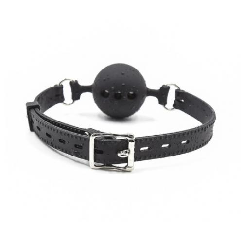 Кляп-шар из медицинского силикона черного цвета
