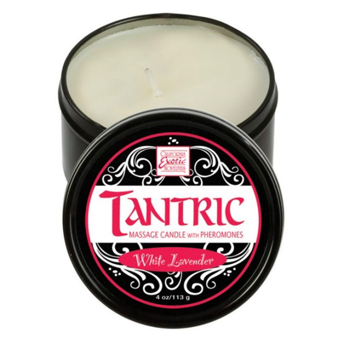 Массажная свеча с феромонами аромат белой лаванды Tantric White Lavander