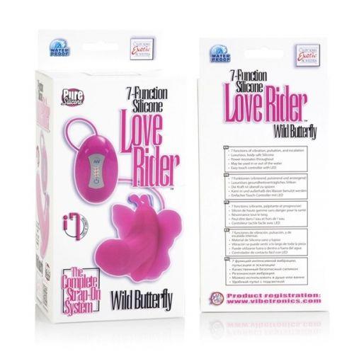 Силиконовый розовый вибратор бабочка с функцией стимуляции клитора Love Rider
