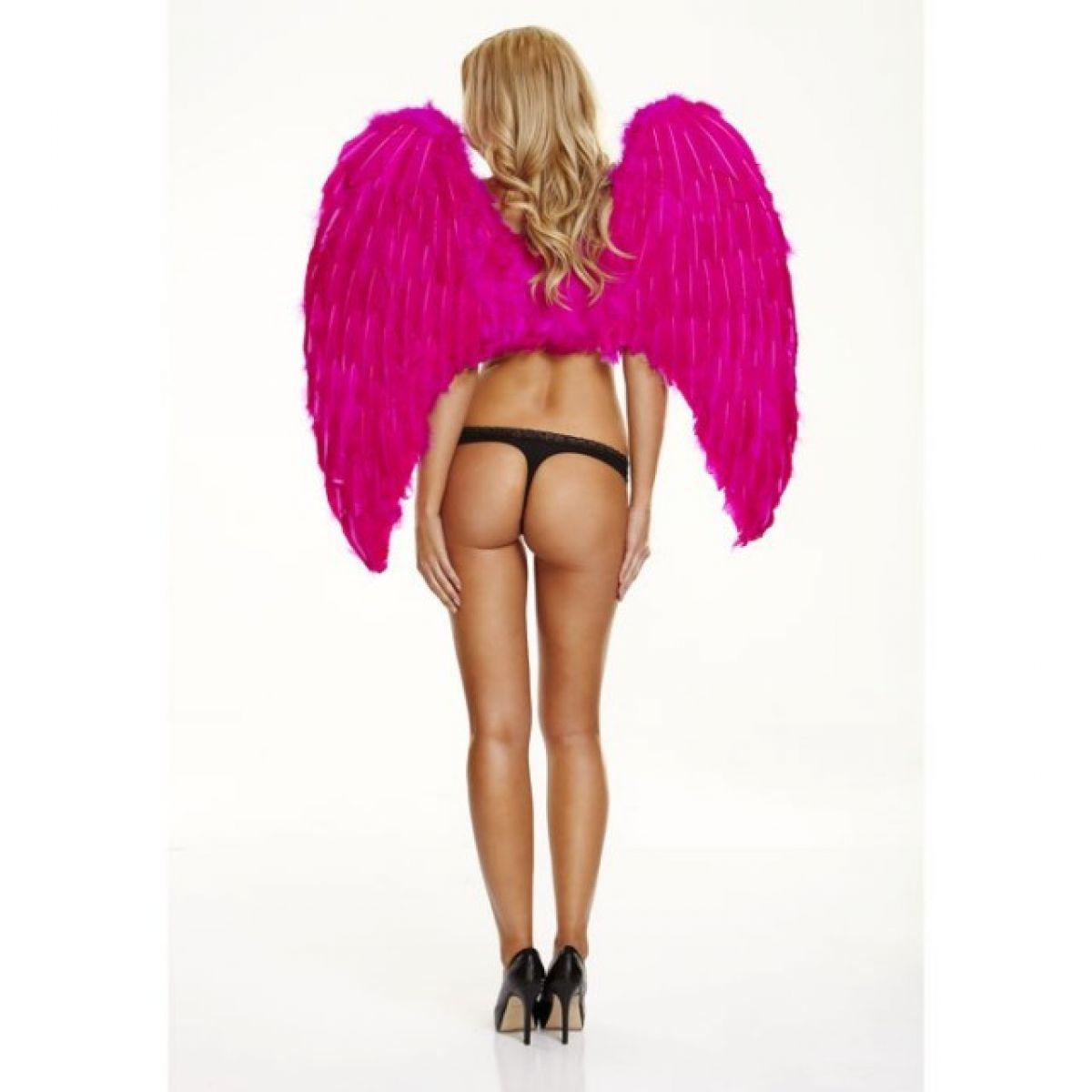 Большие розовые крылья из натуральных перьев Fantasy Dream