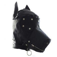 Кожаная маска-шлем собаки на шнуровке..