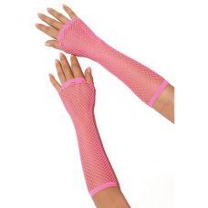 Длинные розовые перчатки в сетку..
