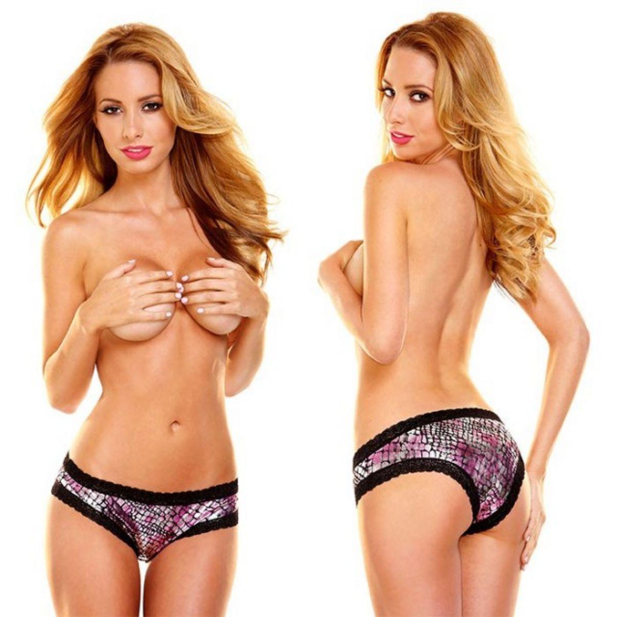 Женские блестящие серебристо-розовые трусики Hustler с кружевом ML