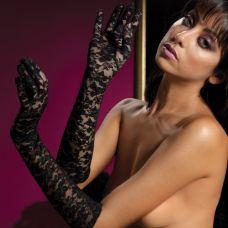 Перчатки из черного цветочного гипюр..