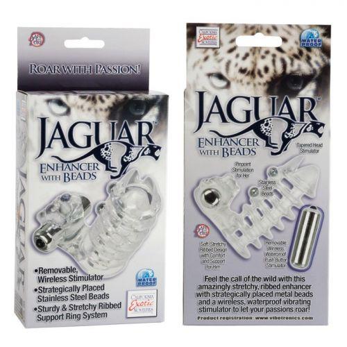 Вибро-насадка на пенис с бусинами Jaguar