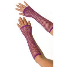 Длинные фиолетовые перчатки в сетку..