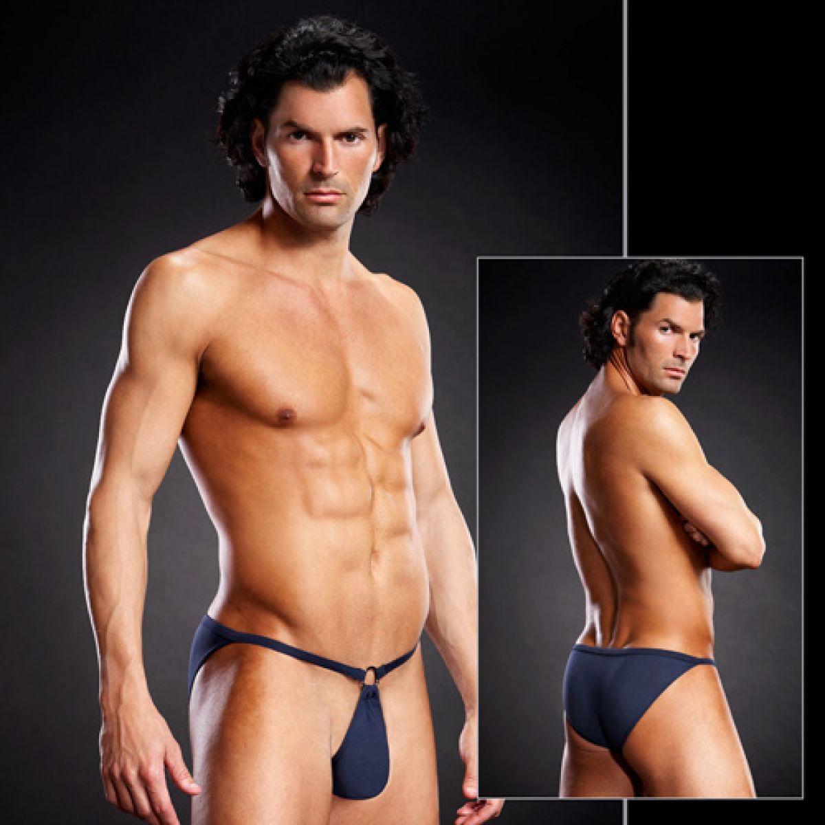 Сексуальные синие мужские pouch-бикини L/XL
