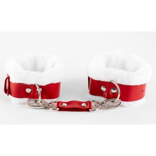 Поножи кожаные с нежным мехом бело-красные