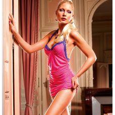 Эротичное розовое платье с кружевной..