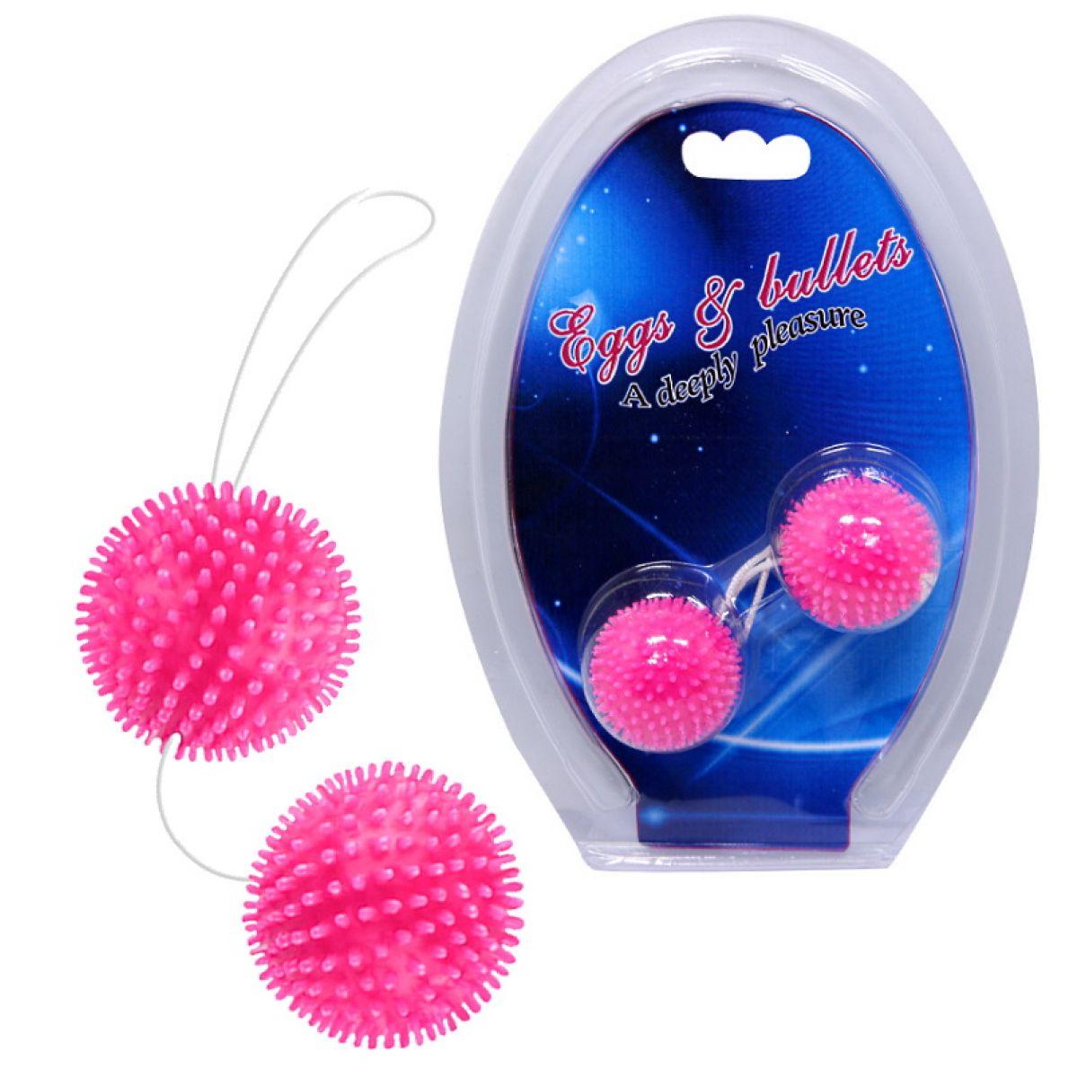 Анально-вагинальные шарики с мягкими шипами розовые
