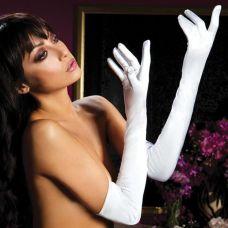 Атласные длинные белые перчатки..