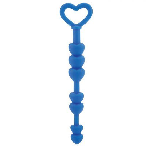 Анальные бусы сердца голубые Lia Love Beads