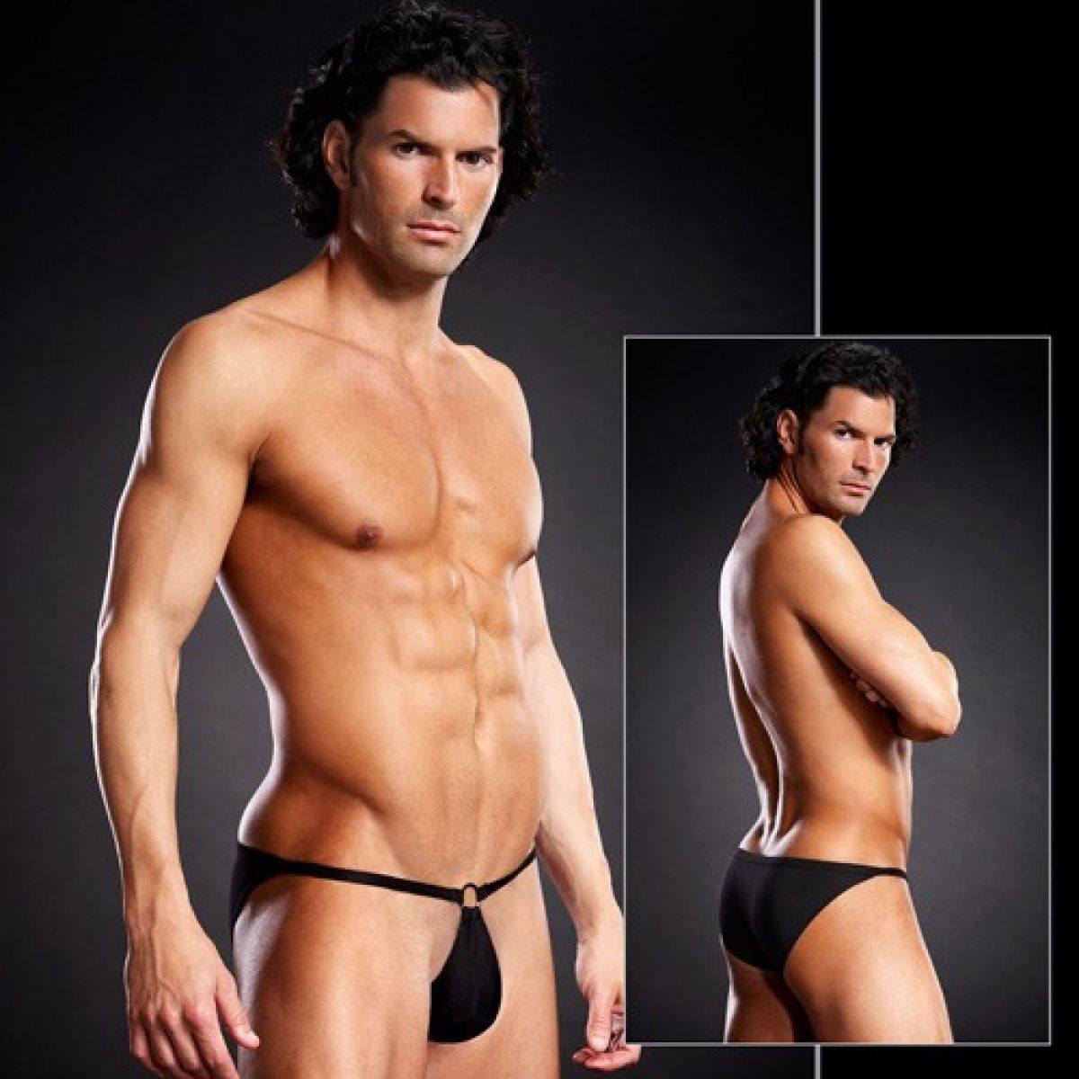 Сексуальные черные мужские pouch-бикини S/M