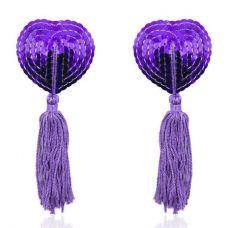Фиолетовые пэстисы для груди с пайетками..