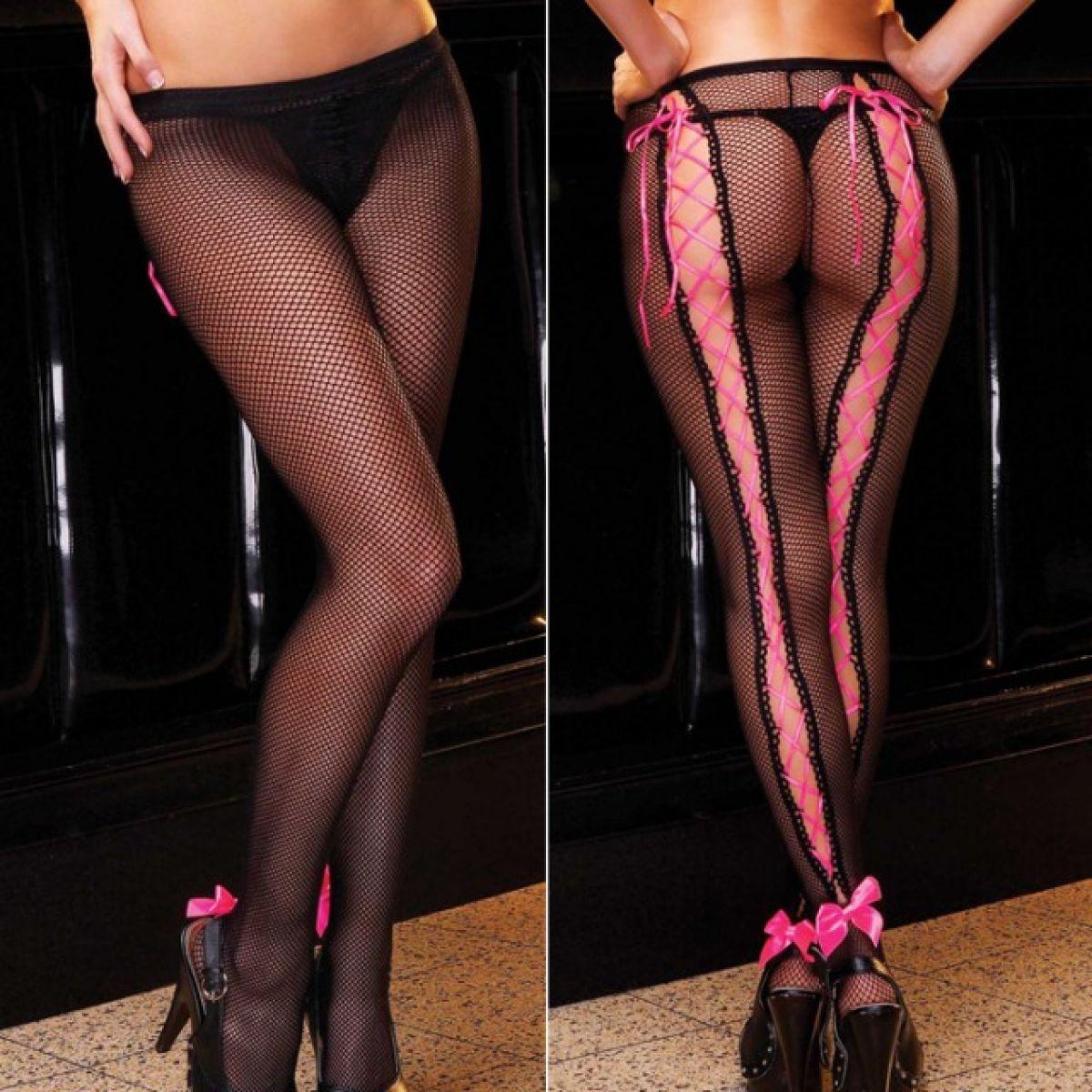 Черные колготки с розовой шнуровкой Cute Girl