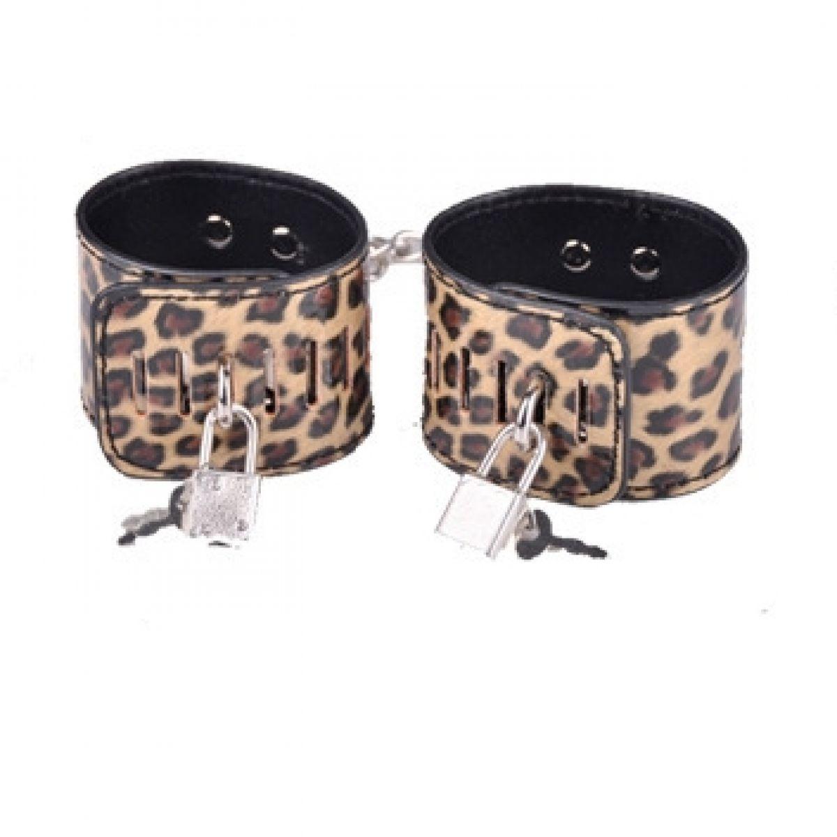 Леопардовые наручники золотистого окраса