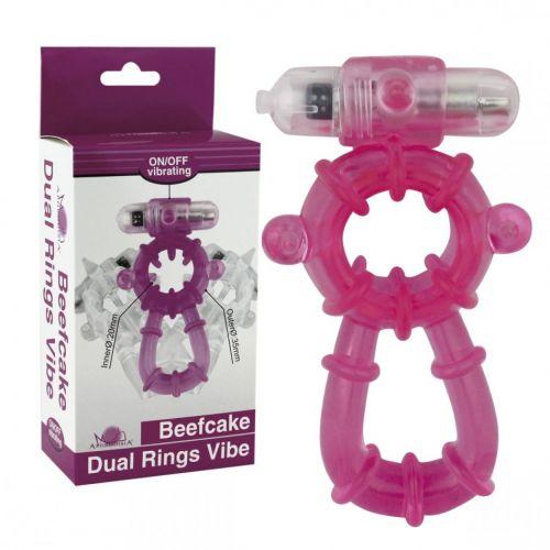 Виброкольцо розовое Beefcake Dual Rings Vibe