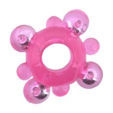 Розовое кольцо-ограничитель с бусинами..
