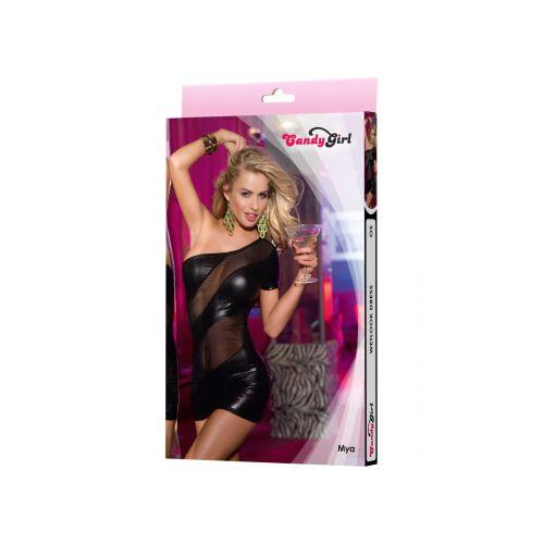 Платье wetlook Candy Girl Mya с открытым плечом, черное, OS