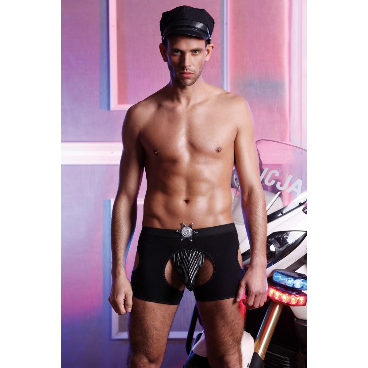 Костюм полицейского Candy Boy Jay (стринги, шорты, значок, головной убор), черный, OS